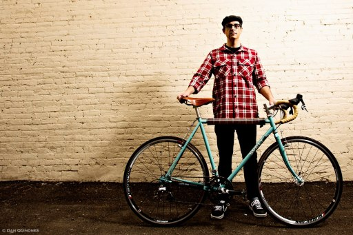Tyson Blades with his custom Surly Crosscheck. Photo by Daniel Quinones.