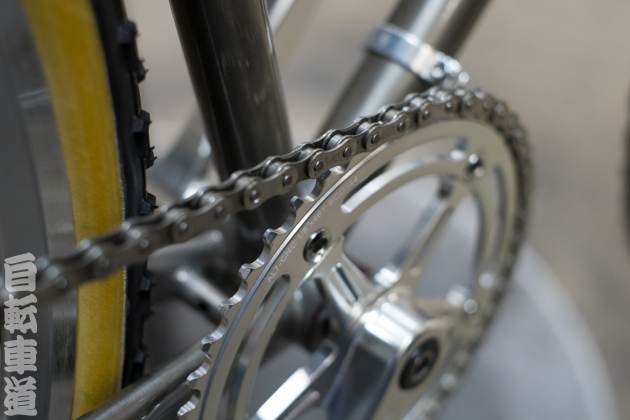 "This being humpday, here is your weekly dose of bike pron. This is a macro shot of the chainring on a restored English grass racer. IRD 48t x 1/8""."