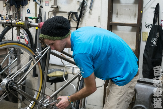 Working on a freshly installed Shimano Alfine 8 hub. Shot at Velo Pro Cyclery.