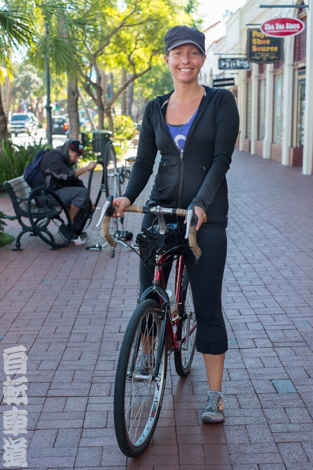 Heather and her steel bicycle, a Bridgestone CB1