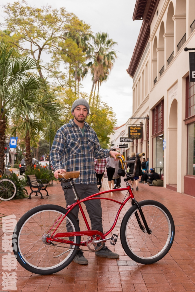 Daniel Quinones and his custom-built Schwinn Cruiser.