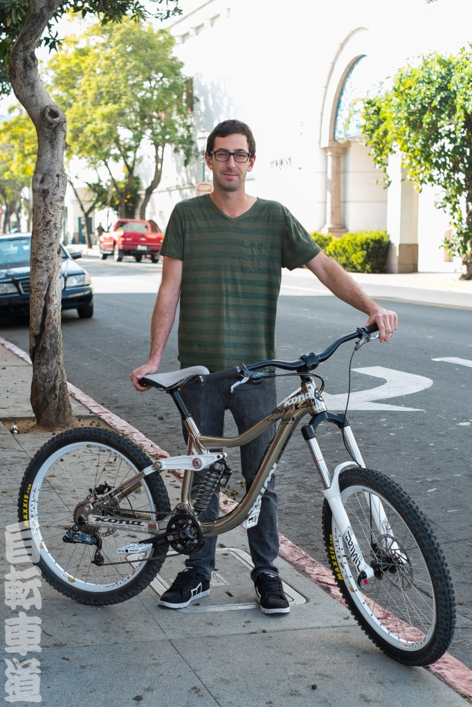 Ky and his 2011 Kona Operator downhill bike.