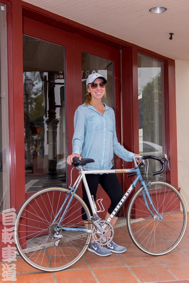 Rachael and her 1989 Centurion Ironman Expert Dave Scott road bicycle.