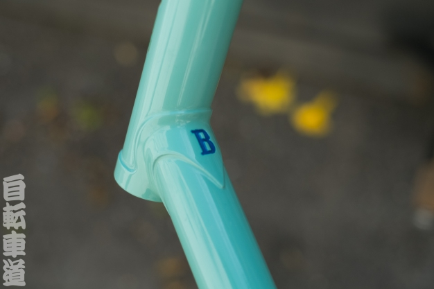 Beautifully-restored 1964 Bianchi road frame steer tube lug detail.