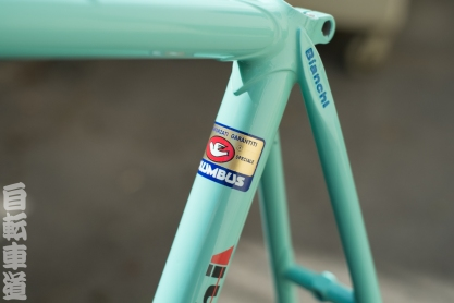 Beautifully-restored 1964 Bianchi road frame seat stay lug detail.