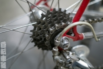 1983 De Rosa Eddy Merckx 6-speed cassette detail.