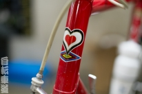 1983 De Rosa Eddy Merckx head badge decal detail.