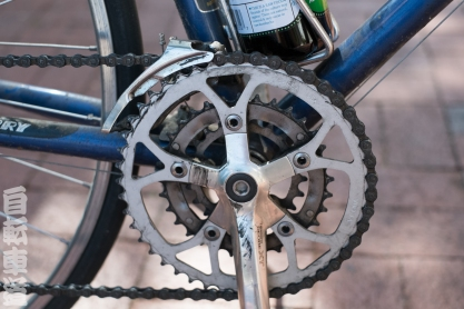 1990s Georgena Terry women's-specific bicycle. Deore XT chainring detail.