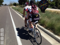 Lane with Blind Stoker John on the back of the tandem, riding towards south Carlsbad, CA.