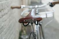 Mercier Kilo OS Double Top Tube Grass Racer Brooks Saddle detail