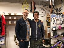 Yours Truly and Yoshi Taira at his shop, Taira Cycles
